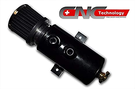 Aluminum Tank Oil Catch Can Baffled Filter 10an fittings for Subaru Nissan Black