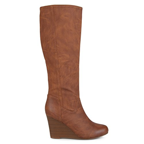 Brinley Co. Womens Regular and Wide Calf Round Toe Faux Leather Mid-Calf Wedge Boots Brown, 9 Regular US