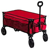 Timber Ridge Camping Wagon Folding Garden Cart Collapsible Utility Grocery Trolley, Wheels, Red