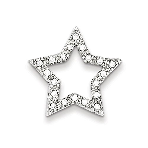 Star Slide Pendant (Sterling Silver and Cubic Zirconia Outlined Star Slide Pendant, 22mm)