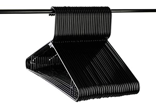 Neaties USA Made Black Plastic Hangers with Bar Hooks, 30pk