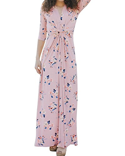 3/4 Sleeve V-neck Knot (Hestenve Women Floral Printed 3/4 Sleeve V Neck Twist Knot Empire Waist Swing Maxi Dress)