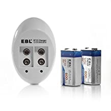 EBL Smart 9V Li-ion Ni-MH Ni-Cd Battery Charger with 600mAh Li ion 9V Rechargeable Batteries 2 Pack