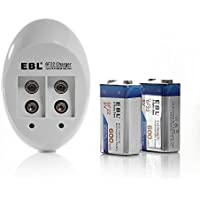 EBL 840 9V Li-ion Ni-MH Battery Charger with 600mAh Lithium-ion Rechargeable 9 Volt Batteries (2 Pack)
