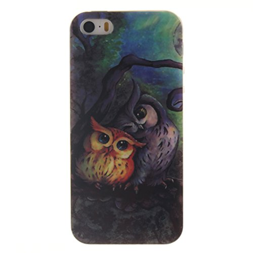 bezaubernd Owl Drucken Design weich Silikon TPU für Apple iPhone 5 5S / SE Hülle,Premium Handy Tasche Schutz Hülle Case Cover Etui Schutz schutzhülle Bumper Schale Silicone für Apple iPhone 5 5S / SE