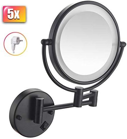 化粧鏡、壁掛け、拡大鏡付きLEDバスルーム用化粧バニティミラー、両面鏡、プラグイン付き