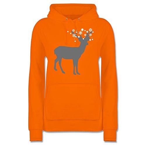 Weihnachten & Silvester - Rentier Schnee Eiskristalle - Damen Hoodie Orange