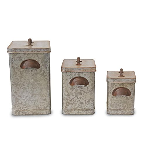 Mud Pie Retreat Collection Galvanized Tin Kitchen Canisters Set of 3