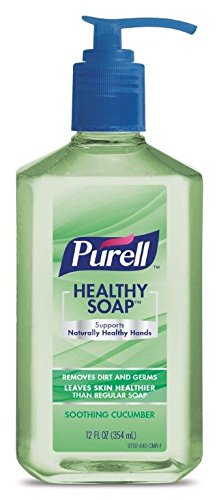 PURELL HEALTHY SOAP, Soothing Cucumber Fragrance, 12 fl oz Soap Counter Top Pump Bottles (Case of 18) - 9701-18-CMR