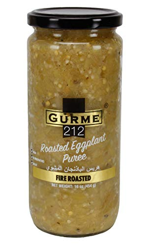 Gurme212 Fire Roasted Eggplant 16 oz jar, No Preservatives, Vegan (Other sizes available)
