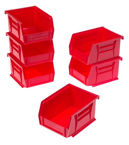 Akro-Mils 8212 Six Pack of 30210 Plastic Storage Stacking AkroBins for Craft and Hardware, Red - Small Parts Bin