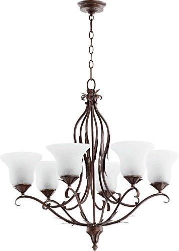 Quorum Lighting 6272-6-39, Flora Glass 1 Tier Lighting, 6LT, Vintage Copper w/ White Linen