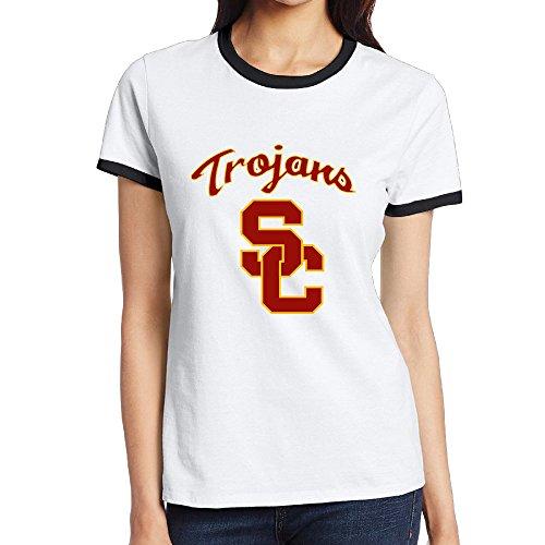 NINJOE Women's Cotton Usc Trojans Football Running T-Shirt Black (Shazam Costume Amazon)