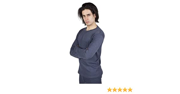 Mens Thermal Underwear Long Sleeve T Shirt Top (Chest: 32 34ins (Small)) (Denim)