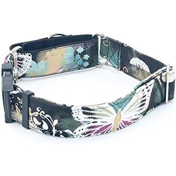 "Sapphire Flowers Black Dog Collar 1/"" 2/"" Widths Caninus Collars"