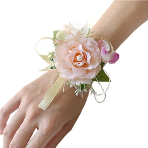 Arlai Set of 2,Wrist Corsage wristband Roses Wrist Corsage for Prom, Party, Wedding champagne - Two Yellow Roses