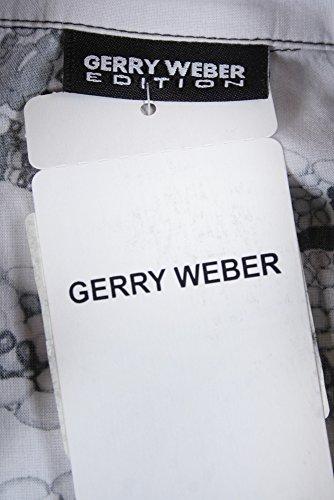 GERRY WEBER Bluse Grau gemustert Baumwolle Langarm Basic Fit