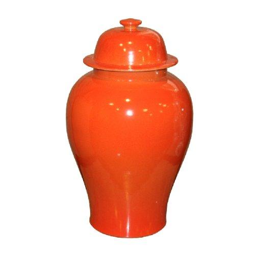 Orange Crackle - Asian Traditional Ceramic Temple Jar in Crackle Orange Decorative Storage Containers Jars