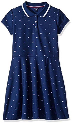 (Tommy Hilfiger Big Girl's Big Girls' Solid Short Sleeve Pique Dress, Dress, flag navy blue, XL16)