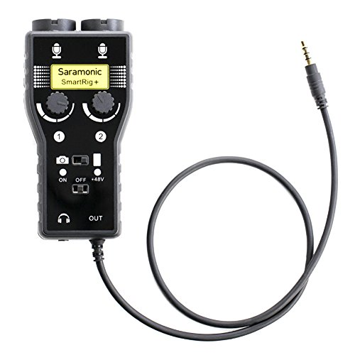 Saramonic SmartRig+ 2-Channel XLR/3.5mm Microphone Audio Mixer with Phantom Power Preamp & Guitar Interface for DSLR Cameras, Camcorders, iPhone, iPad, iPod, PC,and Android Smartphones, Two Channel Microphone Preamp