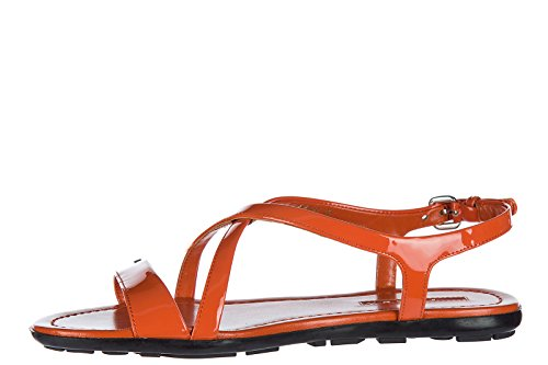 Prada Sandales Femme en Cuir orangene