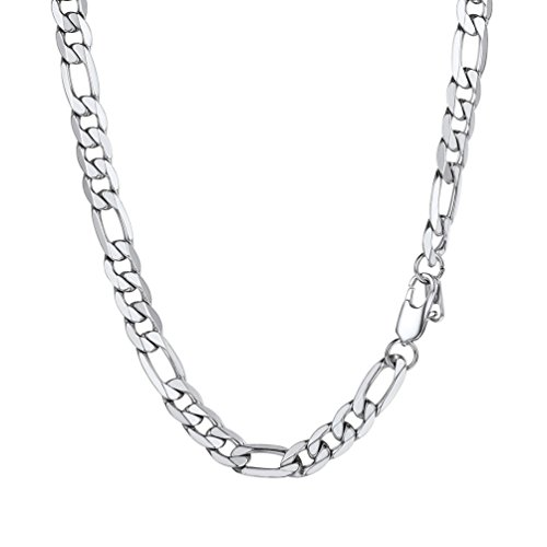 PROSTEEL Figaro Link Necklace Stainless Steel 9mm Big Wide Chain Chunky Choker Necklace 18'' Men Jewelry (Stainless Steel Link Necklace)