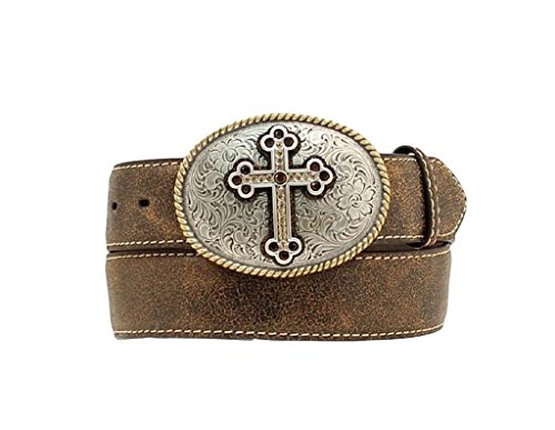 Nocona Women's Distressed Cracked Leather Belt With Fancy Cross Oval Buckle Plus Brown One Size (Nocona Leather Jeans)