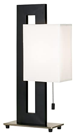 black and brushed nickel floating square table lamp contemporary