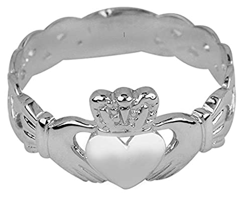 Ladies 10k White Gold Claddagh Ring with Trinity Band (Size 6.5) (Womens Gold Claddagh Ring)