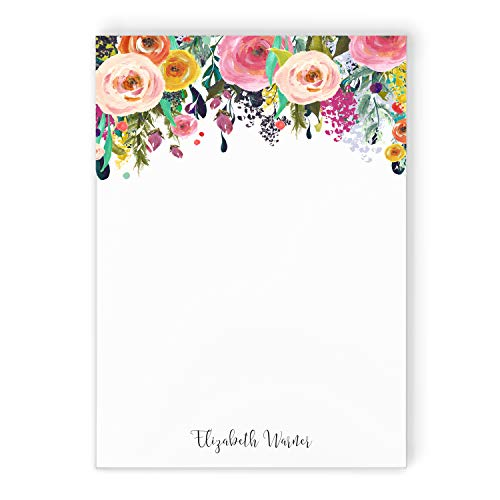 MULTI FLOWER NOTEPAD - Personalized To Do List Hot Pink Colorful Pretty Womens Mom Grandma Aunt Co-worker Stationery/Stationary Note Pad