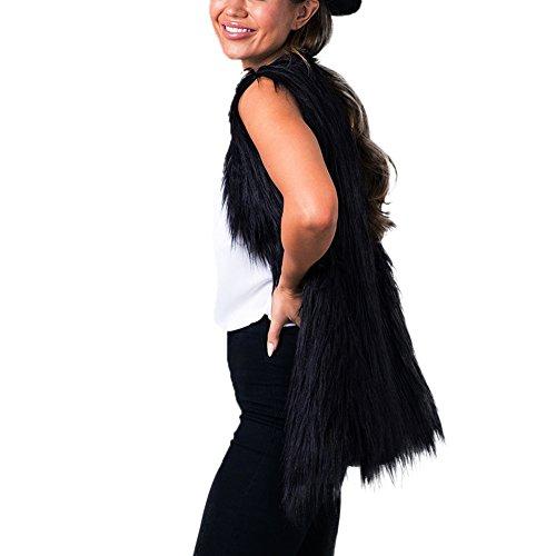 Pelos Chaleco Largo de Abrigo Sintetico Modelo Pelo Chaleco Pelo y Negro Sin Chaqueta Medio de Cuello Mujer Sobretodo iBaste OgCqdgw