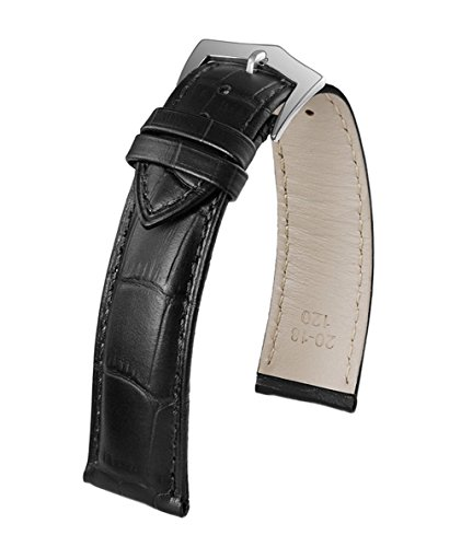 18mm Luxury Full Grain Leather Watch Band in Black Italian Calfskin Crocodile Embossed Medium Padding (Watch Strap Longines)