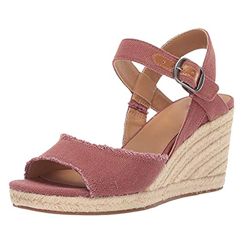 Lady's Casual Retro Seasonal Adjustable Sandals, MmNote Comfy Fashion Ankle Lightweight Outdoor Classic Sandal Pink