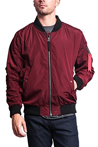 Victorious Men's Contrast Lightweight Bomber Flight Jacket JK752 - Burgundy - 2X-Large - I8A