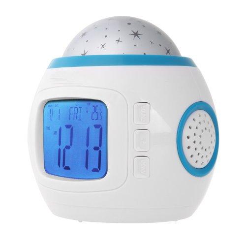 Proyector infantil de estrellas con LED, reloj despertador con ...