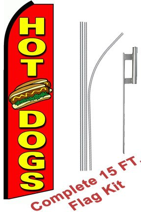 "NEOPlex - ""Hot Dogs (Extra Wide)"" Complete Flag Kit - Includes 12' Swooper Feather Business Flag With 15-foot Anodized Aluminum Flagpole AND Ground Spike"