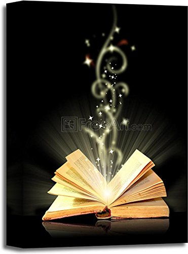 barewalls Open Book Magic On Black Paper Print Wall Art Gallery Wrapped Canvas Art (18in. x 12in.)