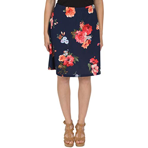 (Stretch is Comfort Women's A-Line Skirt Multi Floral Navy Blue Small)