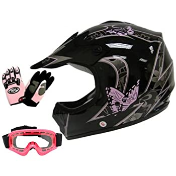 TMS Youth Kids Pink Butterfly Dirtbike Atv Motocross Helmet Mx W/goggles/gloves (Medium)