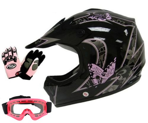 Dot Pink Motorcycle (TMS Youth Kids Pink Butterfly Dirtbike Atv Motocross Helmet Mx W/goggles/gloves (Medium))