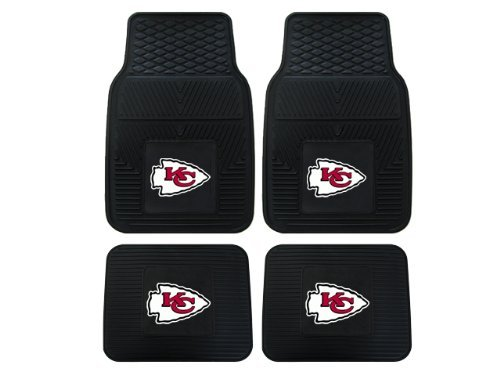 A Set of 4 NFL Universal Fit Front and Rear All-Weather Floor Mats - Kansas City Chiefs