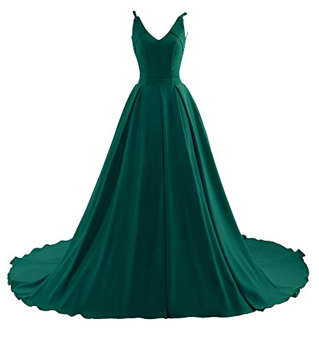 Yinyyinhs Prom Women's Party Sleeveless Long Train Gown Evening Dresses Green Court Dress rS4wr