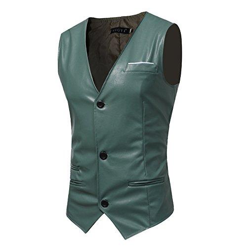 Männer - Slim - Anzug, Weste, Mann ist Einfachheit, self - anbau, pu Haut, Herr Weste,hellgrün,l