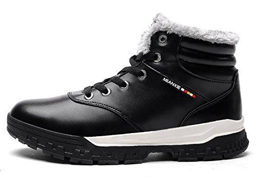 Santimon Ankle Booties Lined Shoes Top Outdoor For Snow Warm Fur Black Winter High Sneaker Boots Men Waterproof rRwSrqBU