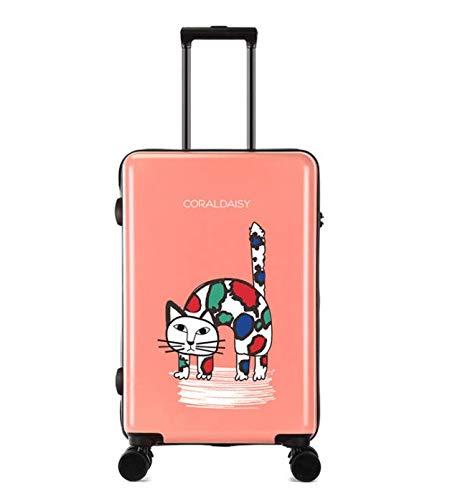 ShiMin ファッショントロリーケースユニバーサルホイール漫画スーツケースかわいいプリントギフトスーツケース (Color : ピンク, Size : L) B07MQ9VFQS ピンク L