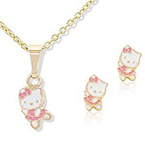 Bijoux Kids–Juego Bijoux infantil Hello Kitty rosa suave–tono oro