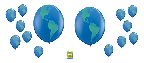 Globe Earth World Latex Balloon Decoration Bundle With Two 3 Foot Round Globe Balloons Twelve 11 Inch Round Globe Balloons and 50 Yards of Curling (Globe Balloons)