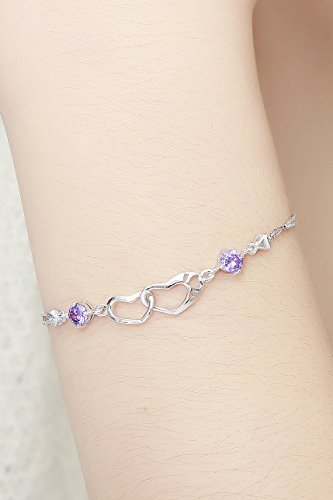 Generic Thai Love Crystal Heart to Heart Sterling Silver Bracelet women girls lady Korean jewelry simple fresh girlfriends gifts by Generic