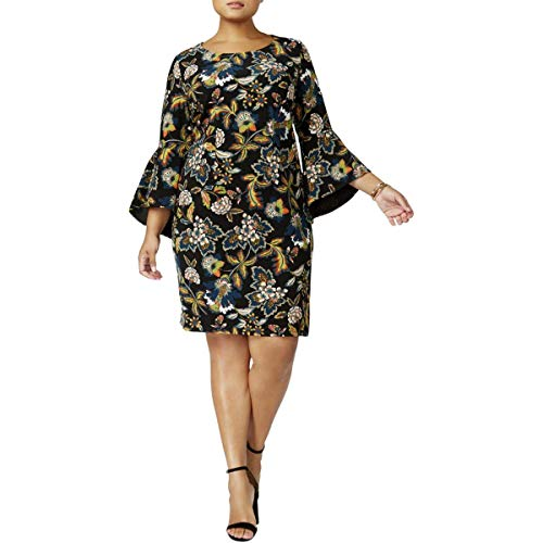 INC Womens Plus Floral Bell Sleeve Wear to Work Dress Black 2X