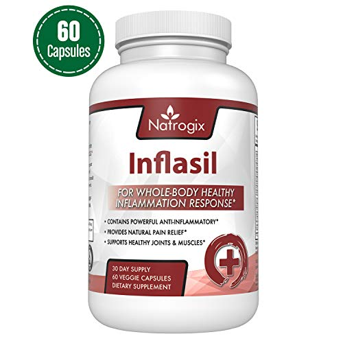 Natrogix Powerful Anti Inflammatory Supplements - Support for Healthy Joint & Muscle Growth, Natural Pain Relief (60 Veggie Capsules)/Made in USA